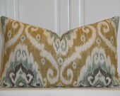 "IKAT -Decorative Pillow Cover - 14"" x 23"" - Iman Home - Green - Grey - Camel Brown"
