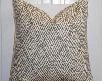 Decorative Pillow Cover - Brown - Taupe -  Sofa Pillow - Trellis Pillow - Lattice - Geometric - Tahitian Stitch