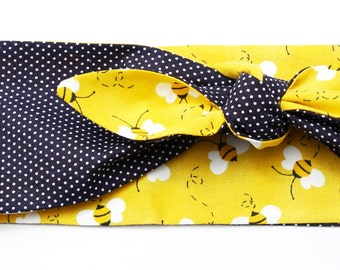 Vintage Inspired Head Scarf, Reversible Prints, Bumble Bees, Polka Dots, 1950s