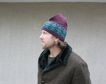 Vintage Mens Winter Hat Ski Wool Tribal Geometric Cranberry Teal Gray Black Hipster Fashion