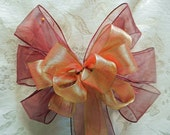 Sheer burgundy bow with Sheer copper/gold ombre'  bow layered on top