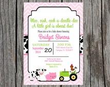 Farm Baby Shower Invitation, farm animals baby shower, baby girl farm animals baby shower, custom and printable