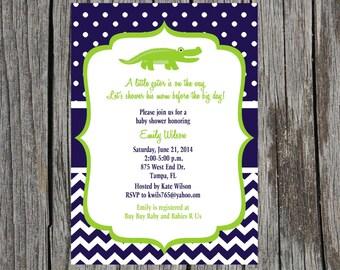 Alligator  Baby Shower Invitation- Alligator Invitation Chevron - Printable and Custom