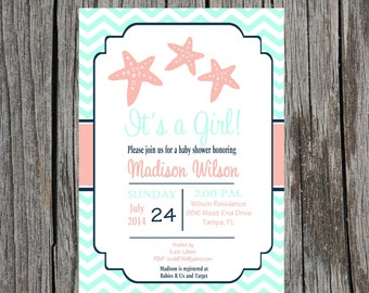 Printed Starfish Baby Shower Invitation, gender neutral, nautical  shower invitation