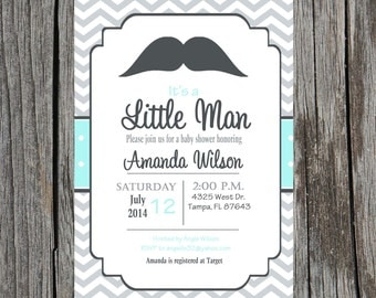 Little Man Baby Shower Invitation, mustache baby shower, mustache bash, mustache baby boy shower, custom and printable