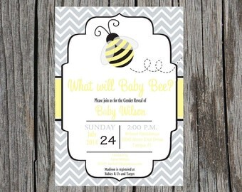 Printed Gender Reveal Invitations, what will baby bee invitation, gender reveal party invitation, bee gender reveal, printed set