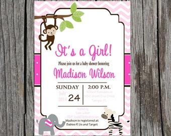 Jungle Baby Shower Invitation, baby girl Jungle baby shower, monkey, elephant, zebra invitation