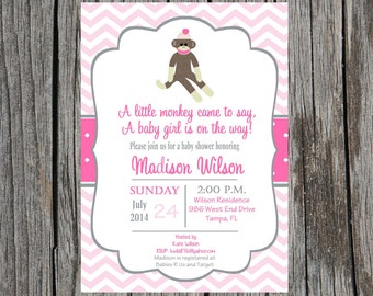 Girl Sock monkey Baby Shower Invitation, sock monkey girl baby shower inviation, baby girl sock monkey, custom and printable