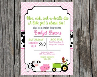 Farm Baby Shower Invitation, farm animals baby shower, baby girl farm animals baby shower, custom and printable