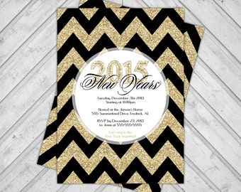 gold and black new years party invitation 2014 - printable new years eve party invite - faux sparkle invite chevron - DIY or printed (560)