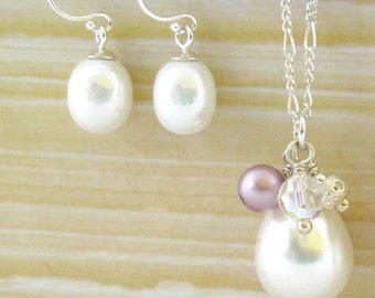 Sterling Silver Pearl Teardrop Necklace with Swarovski Crystals and Freshwater Pearl Earrings
