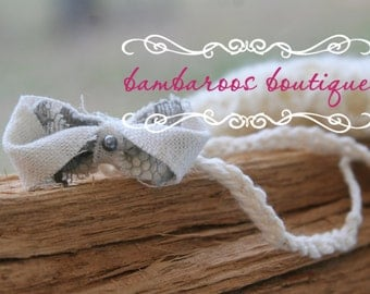 grey bow headband, tiny newborn headband, baby headband, dainty headband, petite flower headband