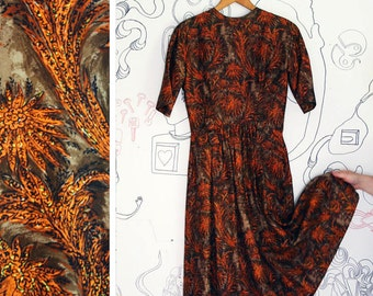 vintage 1950s brown & orange dress sz S