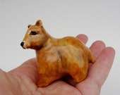 Grizzly Bear Ceramic Figurine - Brown Bear Miniature - Forrest Animal Miniature - Pottery Animal -Peggy Hamlin - Ceramic Animal Figurine