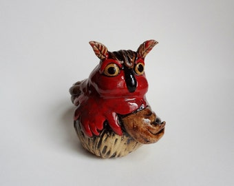 Owl Sculpture - Hand Built Owl - Pottery Sculpture - Clay Animals - Red and Brown - Horned Owl - Speckled Clay - Pottery Animal