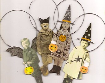 4 HALLOWEEN Trick or Treat Paper Ornaments Altered Art Witch, Bat and Cat