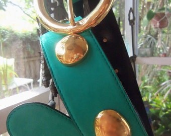 80s ESCADA STUDDED BELT--Teal Suede and Gold--Mint--Made in West Germany
