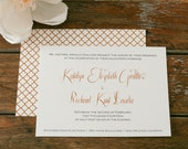 Vintage Calligraphy Wedding Invitation,Modern Wedding Invitations,Custom Calligraphy Invite,Gold calligraphy invitation, Elegant  Wedding