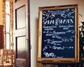 Gold FRAMED CHALKBOARD Wedding Decor Chalk Board Wedding Seating Chart Menu Huge Large Black Board Magnetic Vintage Kitchen - READY to SHiP