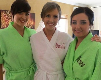 3 Embroidered Spa Robes  Bridesmaids Bride Maid of Honor Personalized Spa Robes front embroidery is included on all robes