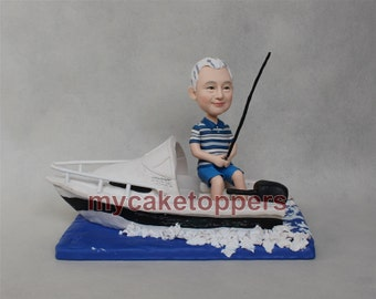 fishing custom cake topper with the boat