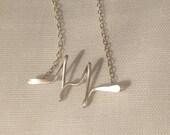 Heart beat necklace or bracelet, EKG, Rythm, My heart beats for you, Silver necklace