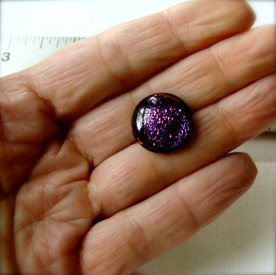 Fused Dichroic Glass Cabochon 16 mm Hot Pink