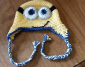 Crocheted Yellow Minion Hat - Child's