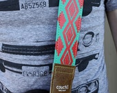 Turquoise & Red Navajo Native American Inspired Guitar Strap, vegan, Made in USA