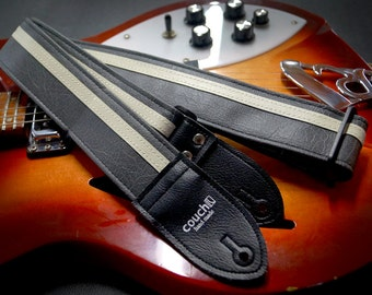 Grey and White Racer X Guitar Strap - Vegan