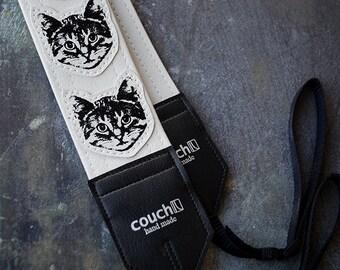 White Cat Camera Strap - Vinyl - Meow Meow Meow