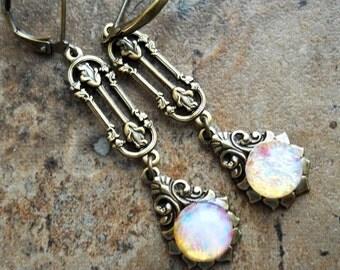 Fire Opal Gothic Earrings in Brass