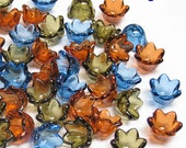 80 Acrylic Flower Beads in Semi Transparent. Mix Colors