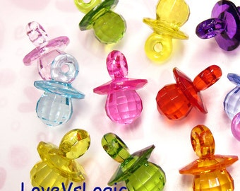 9 Icey Chunky Pacifier Acrylic Faceted Charms. Mix Colors