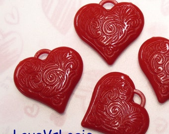 4 Huge Engraved Heart Acrylic Charms. Dark Red
