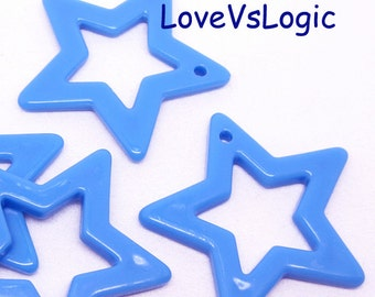 6 Huge Acrylic Star Pendant.Blue.48mm