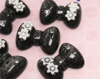 4 Glitter 2 Tone Puff Bow with Flower Lucite Cabochon. Charcoal Tone.