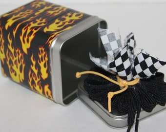 Decorative Tin Can Flames and Checkers