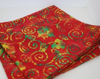 Red, Green, and Yellow Batik Tablecloth