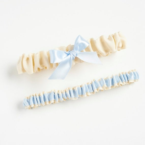 Garter Set, Wedding Garter Set, Bridal Garter Set, Blue Garter, Blue Wedding Garter, Something Blue - Pretty Garter Set by The Garter Girl
