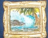 Dollhouse Miniature Seascape Painting Ocean Waves Palm Tree 1:12 scale Original Art by Penny StewArt