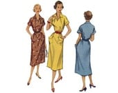 Vintage 1950s Classic Day Dress with Pockets Sewing Pattern McCall's 9269 Medium