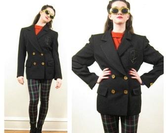 Vintage 1980s Designer Black Blazer/ 80s Black Wool Jacket Jean-Louis Scherrer / Medium