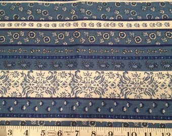 Blue and White Stripe Floral Cotton Fabric