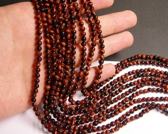 Red Tiger eyes - 4mm ( 4.4mm) round - A quality -  89 beads - 1  full strand - NRG142