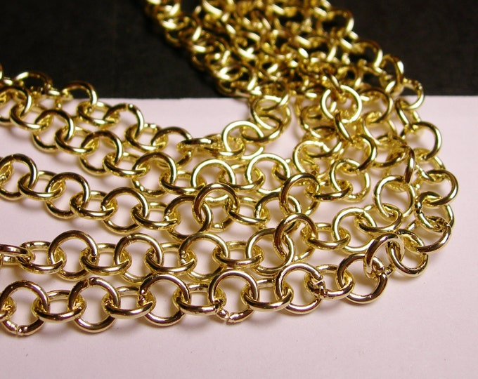 Gold chain - lead free nickel free won't tarnish - 1 meter - 3.3 feet - aluminum chain  -  NTAC4