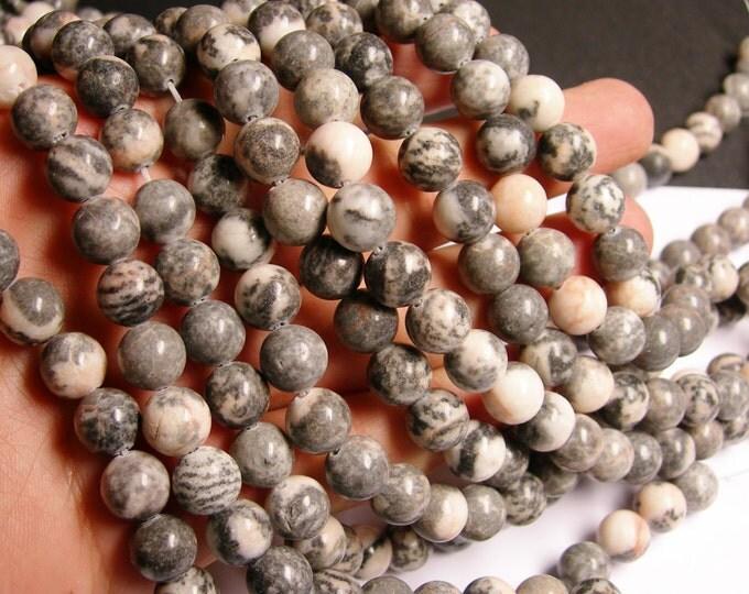 Pink zebra jasper- 10 mm round beads -1 full strand - 39 beads