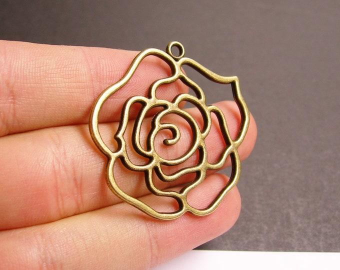 Rose Flower charms - 6 pcs - antique bronze leaf - brass roses charms - BAZ96