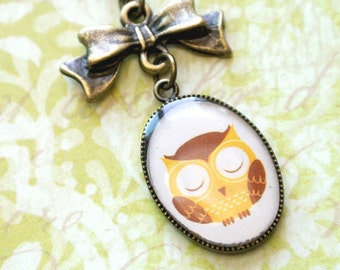 Sleepy Owl Necklace,Owl Pendant with Bow Necklace,Woodland Animals Jewelry