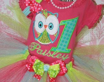 Girls Owl Birthday Tutu Outfit Over the Top 3 Piece Aqua, Turquoise, Lime & Hot Pink Girls Party Tutu Outfit  Pick size, Colors, Number